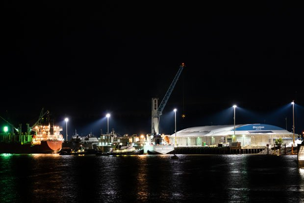 Port of Olympia At Night